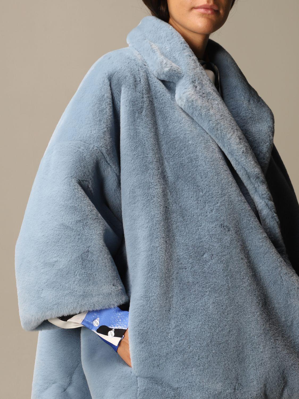 皮草 Stella Jean: 大衣 女士 Stella Jean 浅蓝色 5
