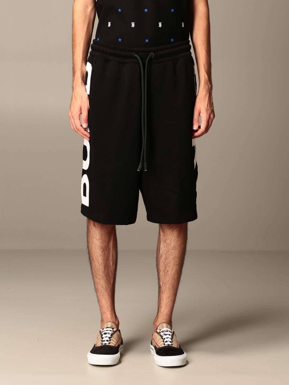 Short Burberry: Burberry jogging bermuda shorts in cotton jersey with logo black 1