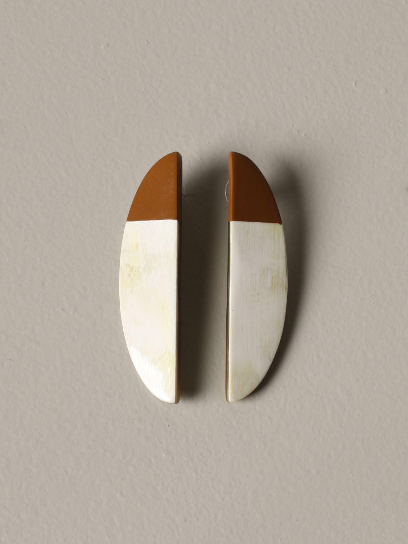 Gioielli Allujewels: Orecchini a banana Allu'jewels effetto bicolor marrone 1