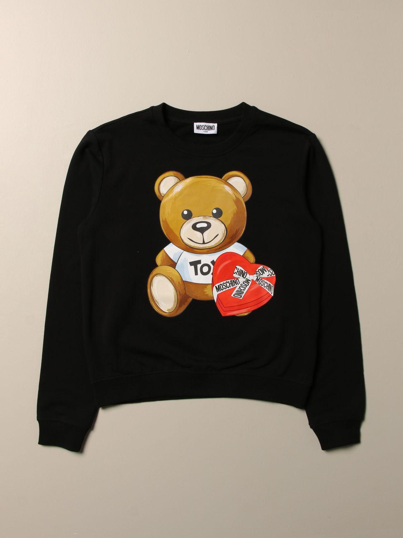 Maglia Moschino Kid: Felpa Moschino Kid con big teddy cuore nero 1