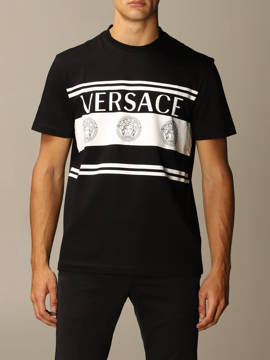 T-shirt Versace: Versace T-shirt with Medusa logo and bands black 1