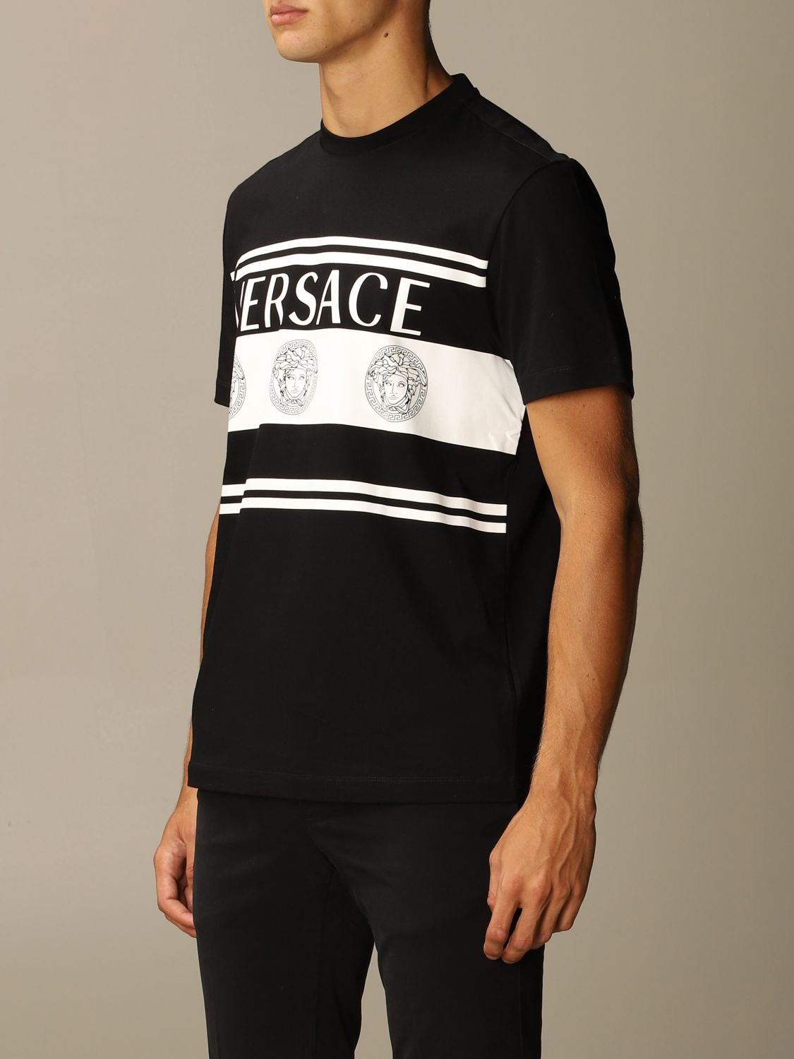 T-shirt Versace: Versace T-shirt with Medusa logo and bands black 3