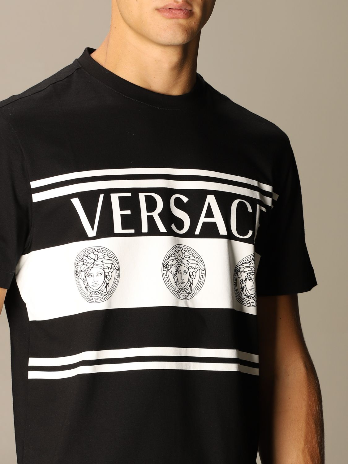 T-shirt Versace: Versace T-shirt with Medusa logo and bands black 4