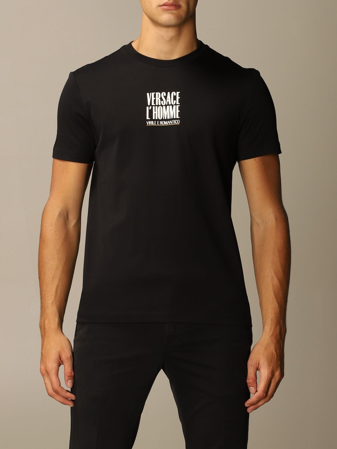 T-shirt Versace: Versace T-shirt with masculine and romantic logo black 1