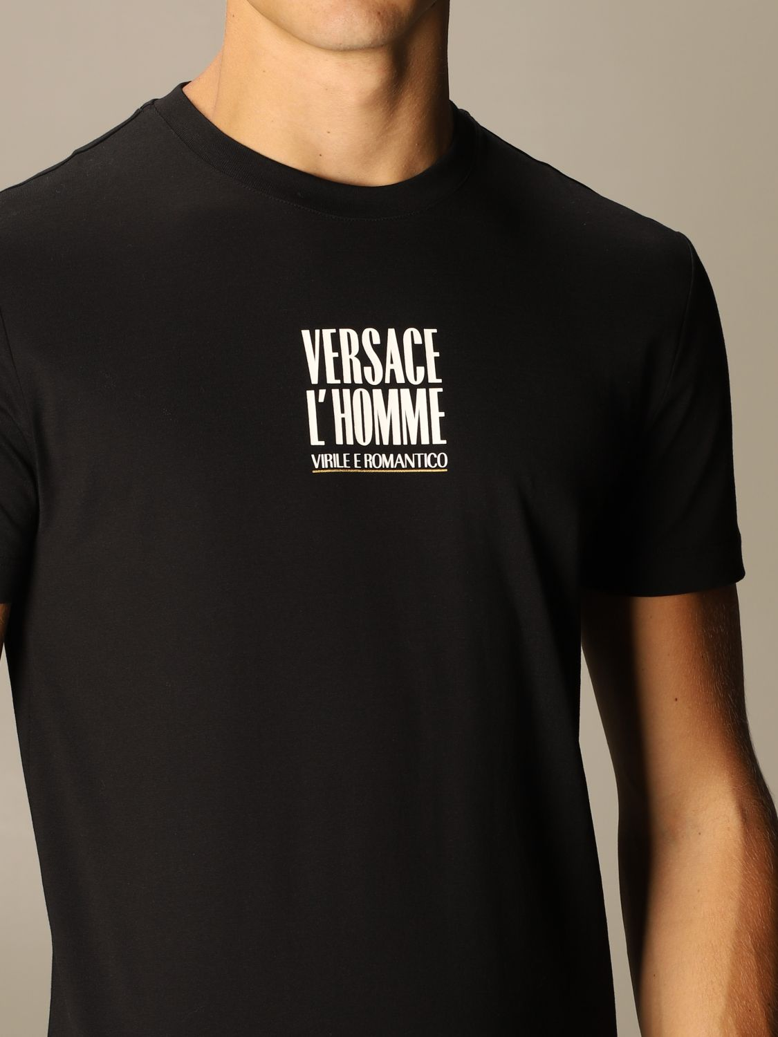 T-shirt Versace: Versace T-shirt with masculine and romantic logo black 4