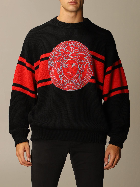 Maglia Versace: Pullover Versace in lana con logo Medusa in jacquard nero 1