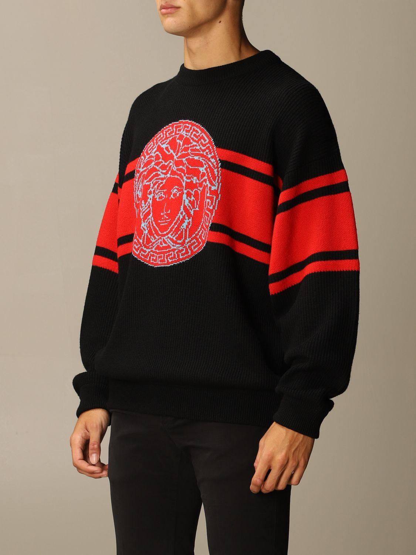 Maglia Versace: Pullover Versace in lana con logo Medusa in jacquard nero 3