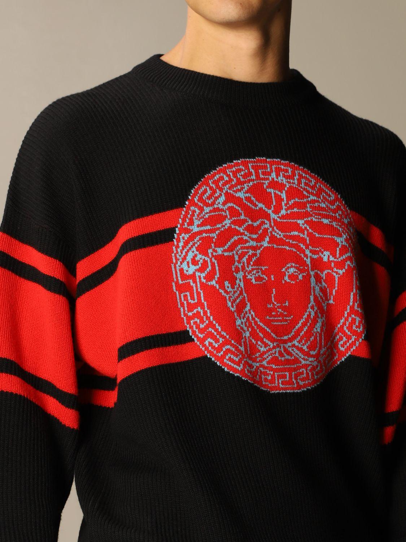 Maglia Versace: Pullover Versace in lana con logo Medusa in jacquard nero 4