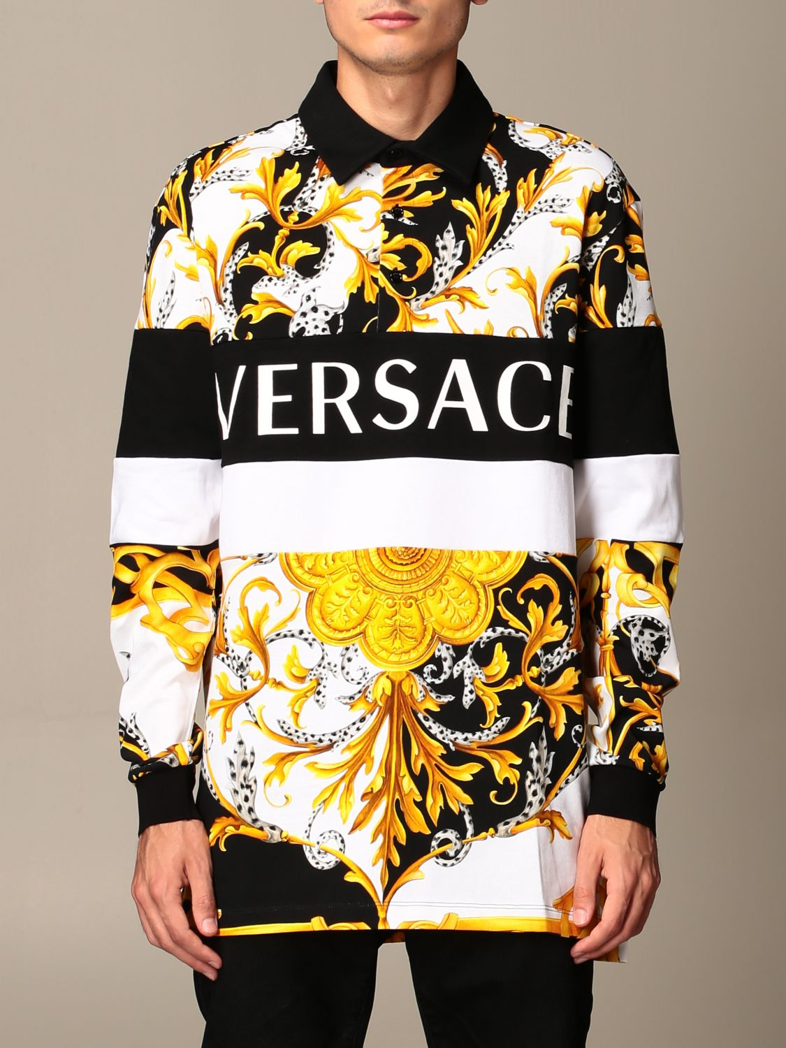 Sweater Versace: Versace polo shirt in cotton with baroque print white 1