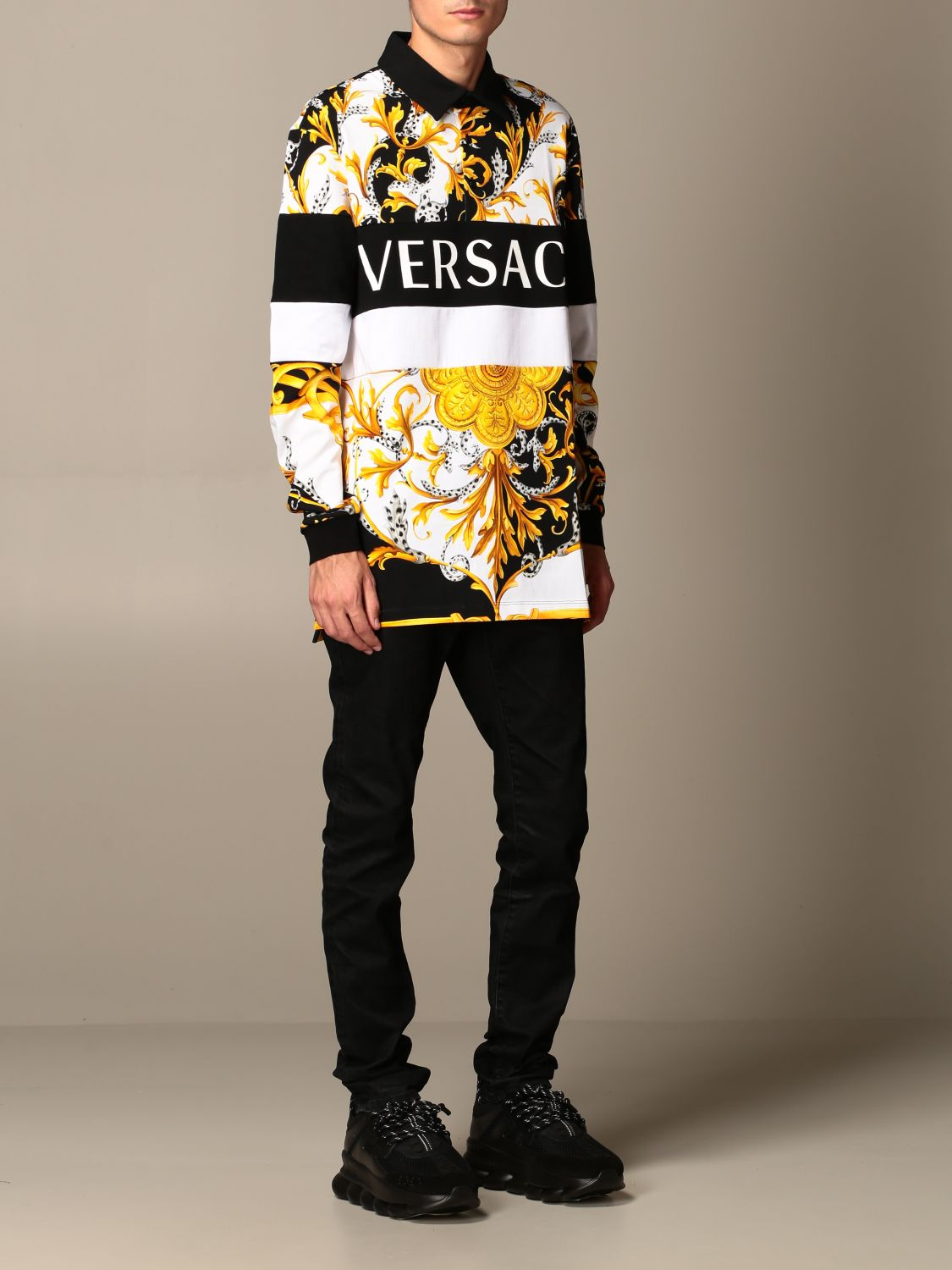 Sweater Versace: Versace polo shirt in cotton with baroque print white 2