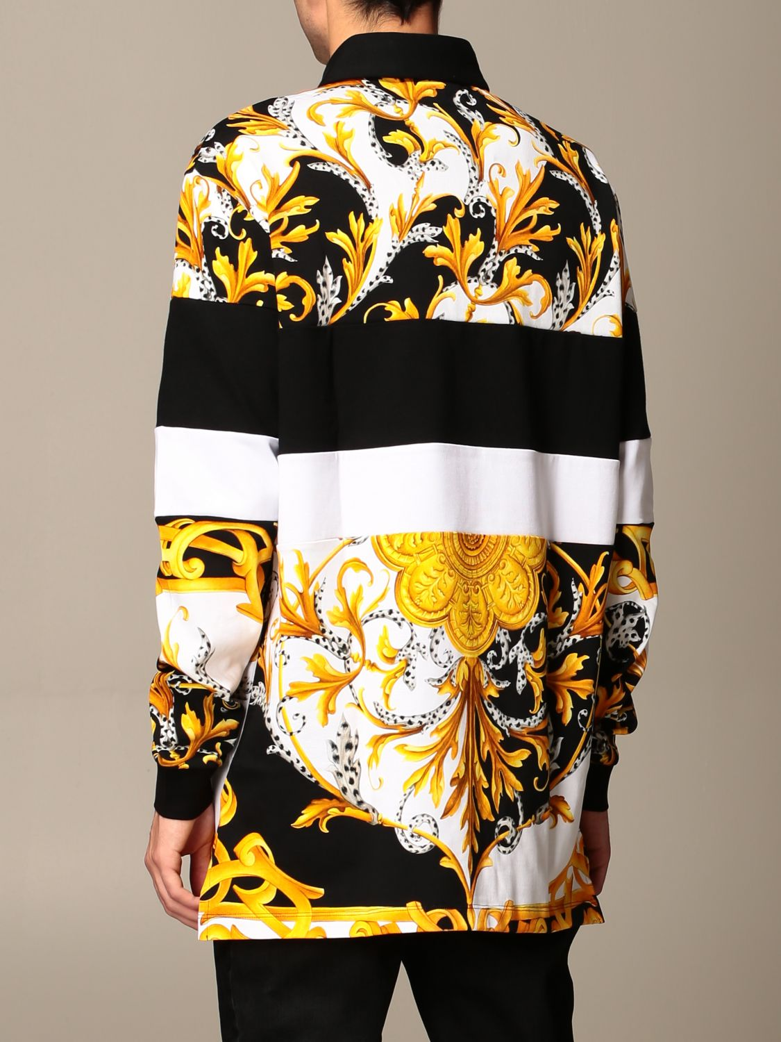 Sweater Versace: Versace polo shirt in cotton with baroque print white 3