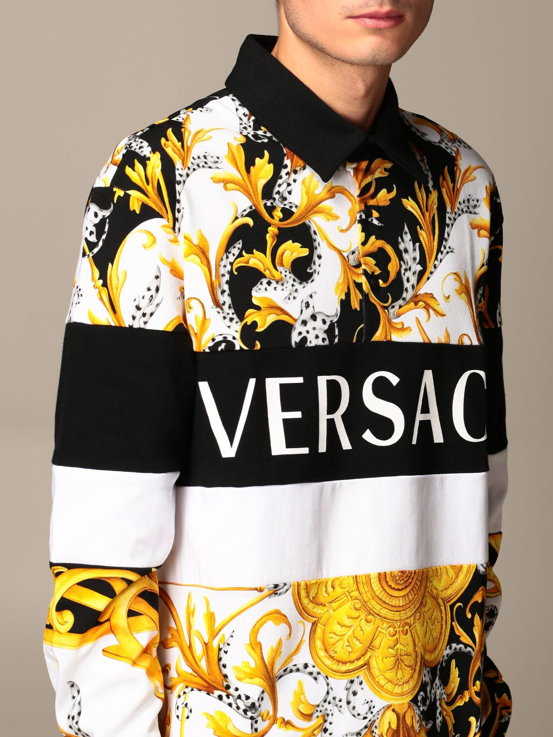 Sweater Versace: Versace polo shirt in cotton with baroque print white 4
