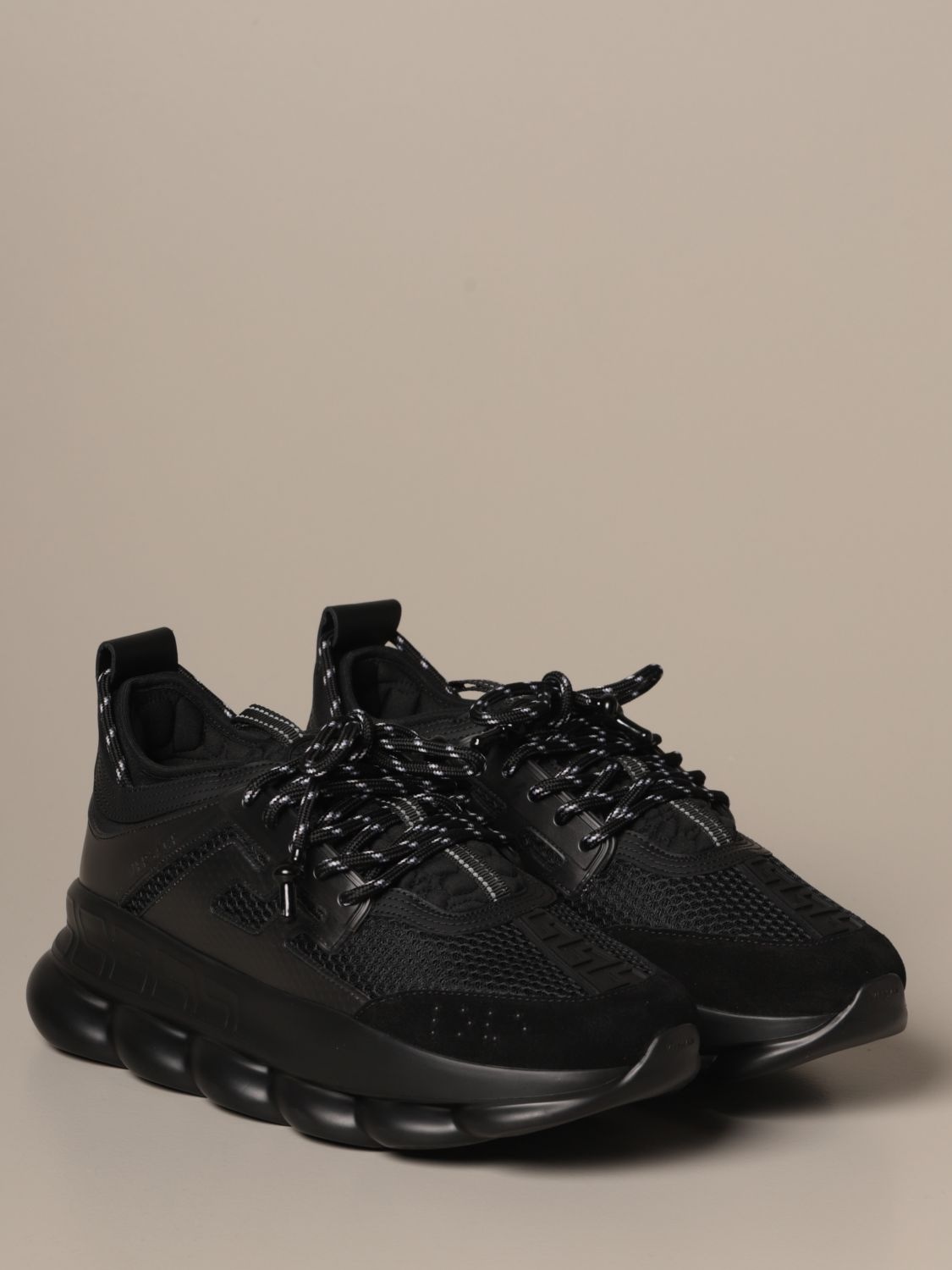 Sneakers Versace: Chain reaction Versace sneakers in leather and mesh black 2