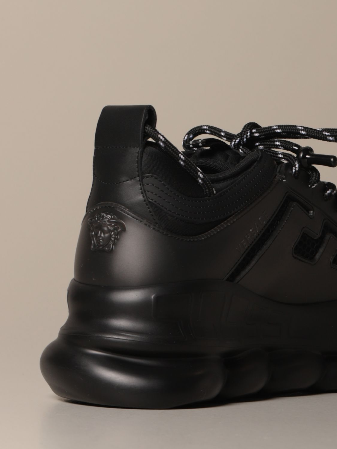 Sneakers Versace: Chain reaction Versace sneakers in leather and mesh black 3