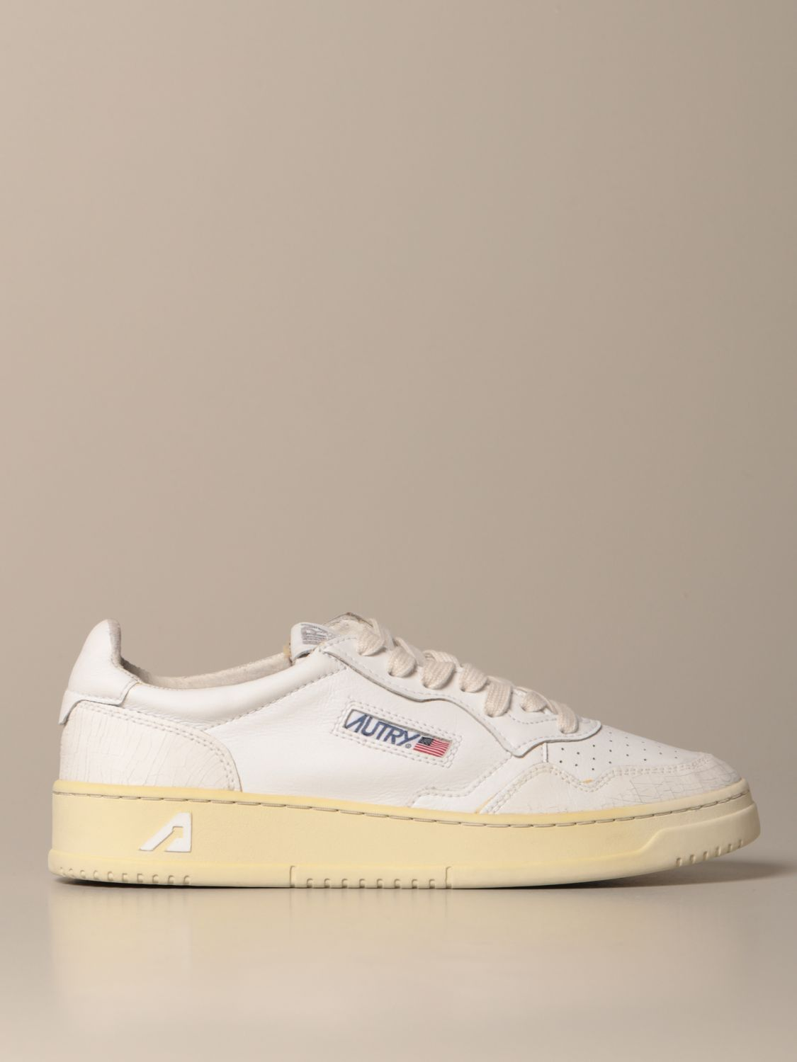 Sneakers Autry: Autry sneakers in smooth leather and crackle leather white 1