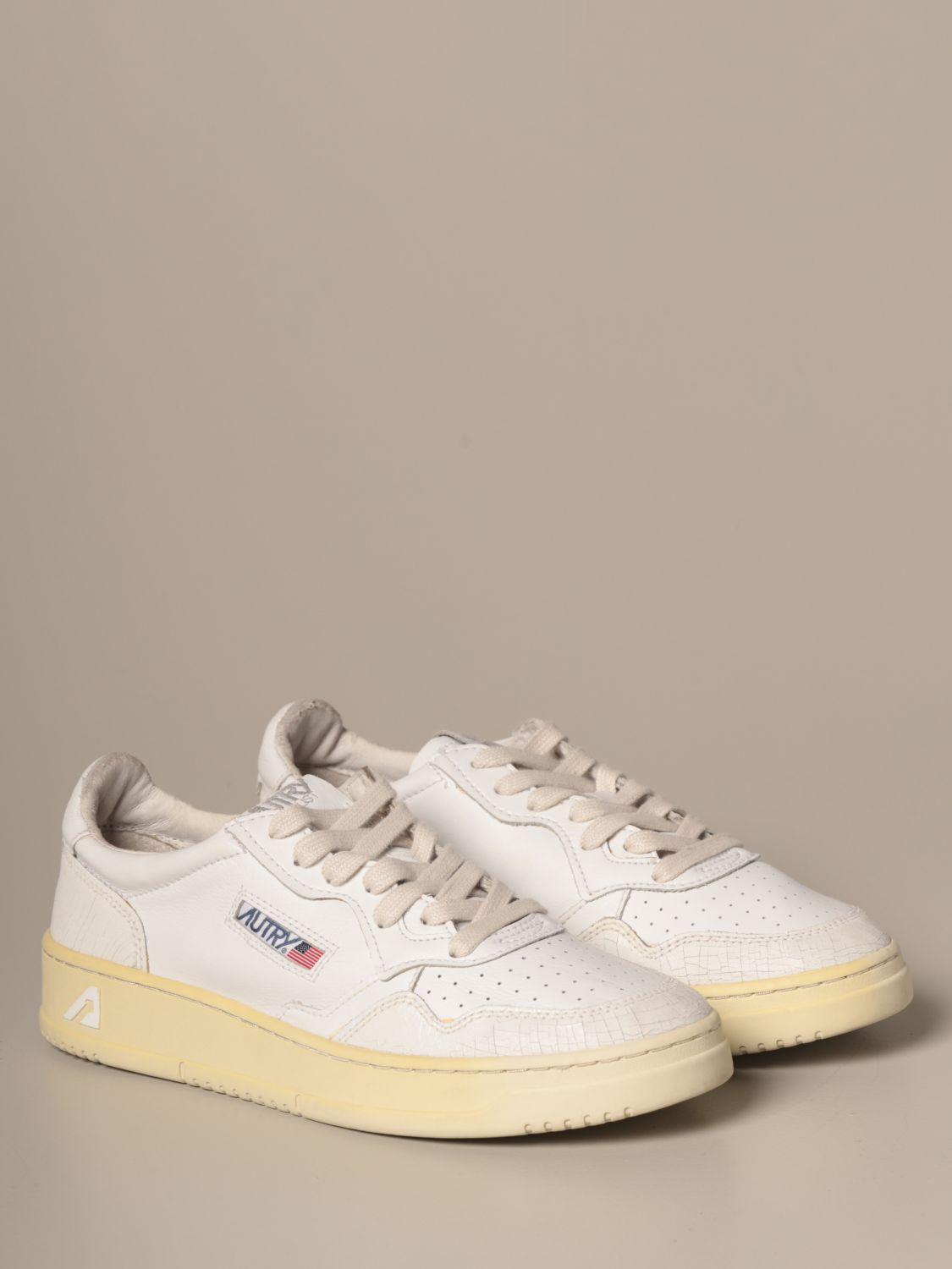 Sneakers Autry: Autry sneakers in smooth leather and crackle leather white 2