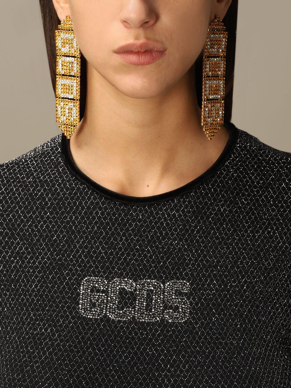 Gioielli Gcds: Orecchini Gold GCDS pendenti con cristalli oro 1