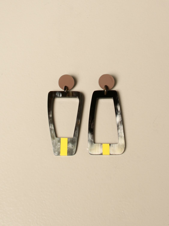 Gioielli Allujewels: Orecchini corno Allu' jewels quadrati giallo 1