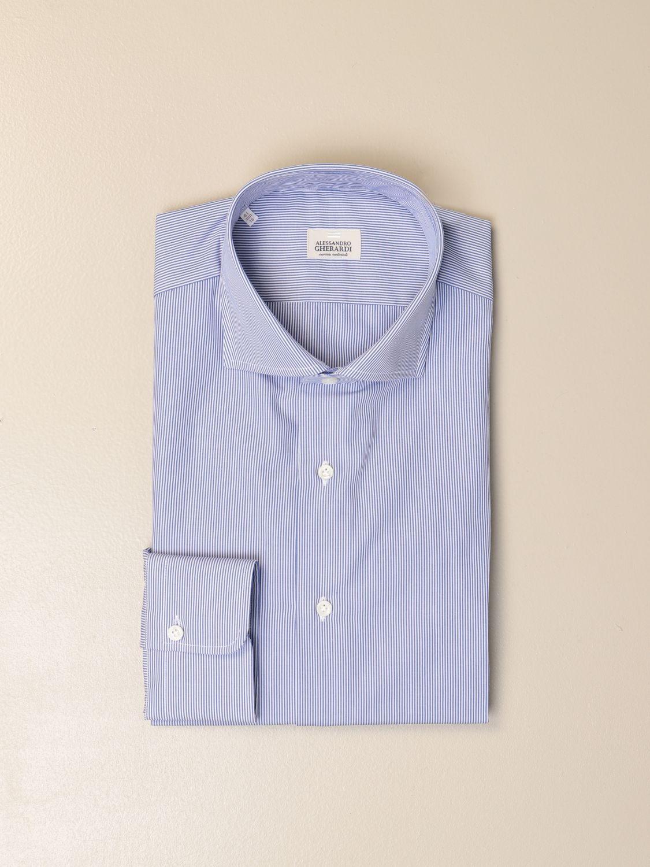 Shirt Alessandro Gherardi: Alessandro Gherardi shirt in wadded cotton gnawed blue 1