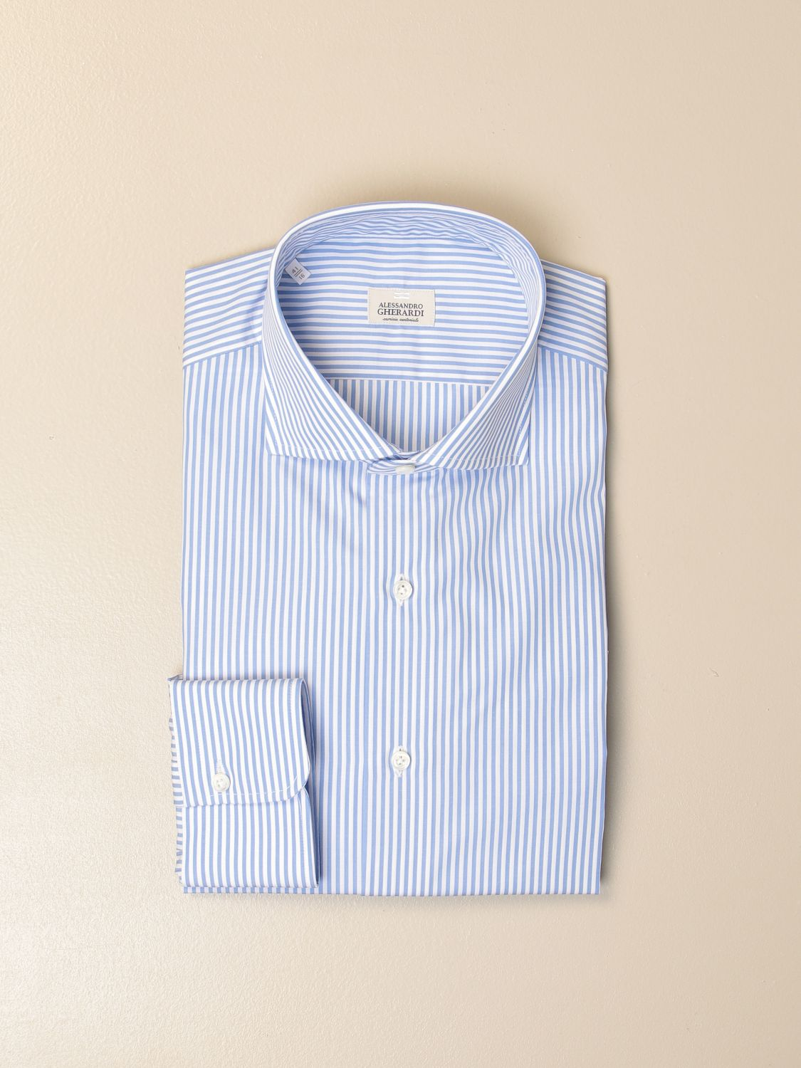 Shirt Alessandro Gherardi: Alessandro Gherardi shirt in wadded cotton gnawed blue 1