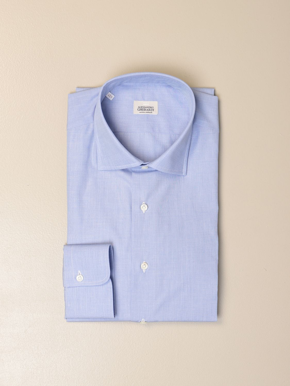 Shirt Alessandro Gherardi: Alessandro Gherardi shirt in fil a fil cotton gnawed blue 1