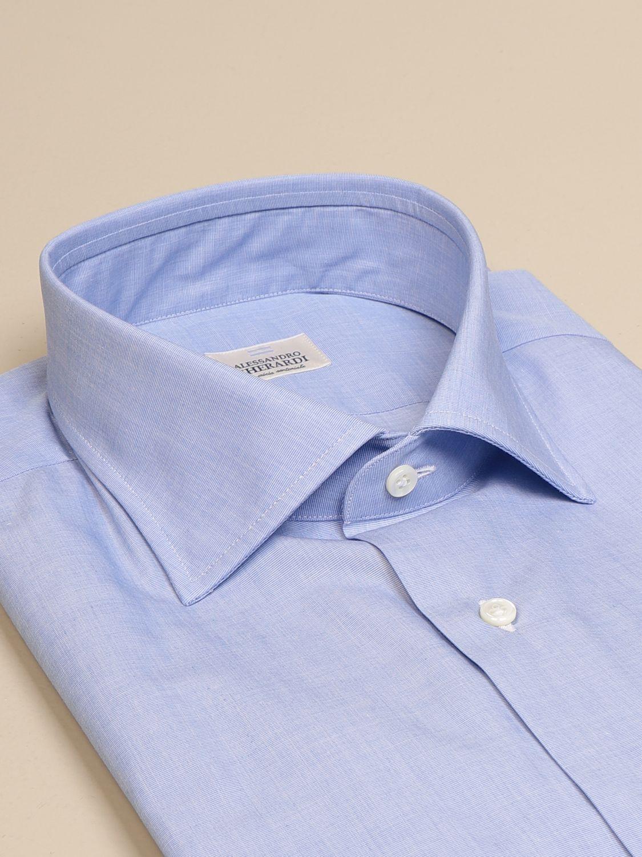 Shirt Alessandro Gherardi: Alessandro Gherardi shirt in fil a fil cotton gnawed blue 2