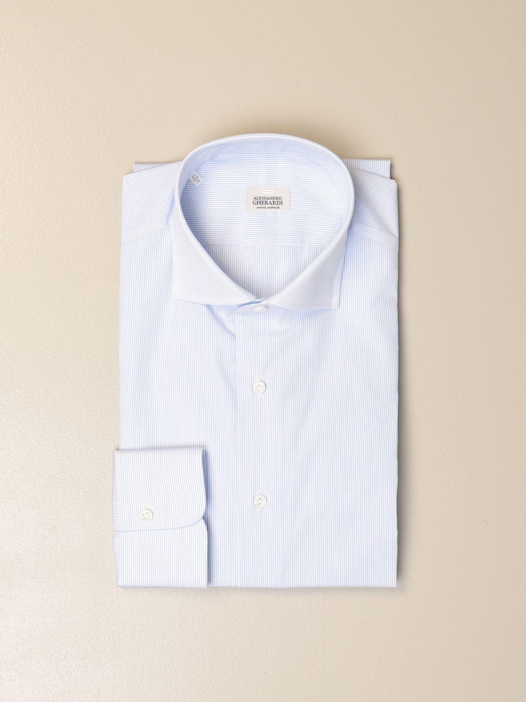 Camicia Alessandro Gherardi: Camicia Alessandro Gherardi in cotone bacchettato celeste 1