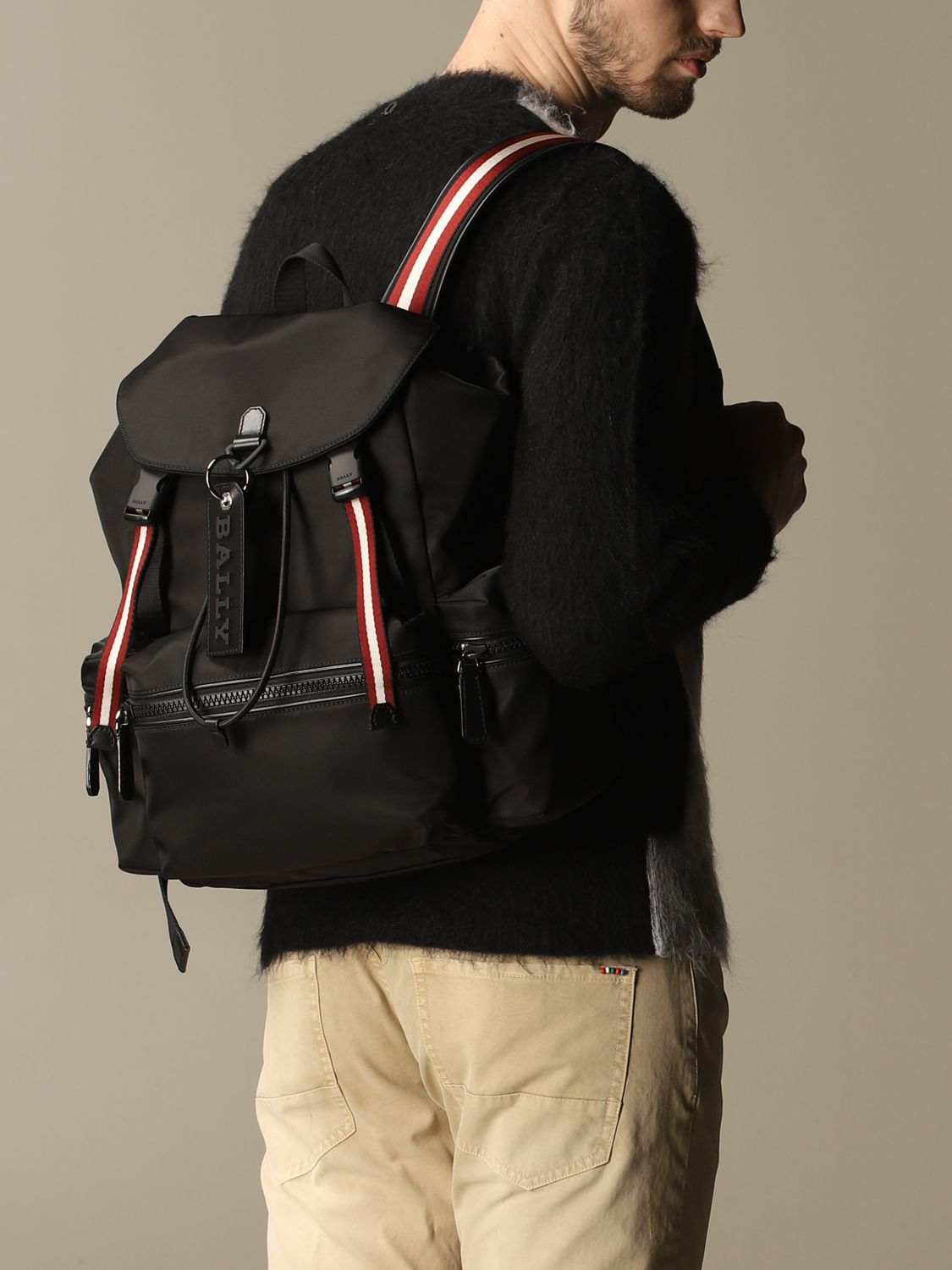 Backpack Bally: Crew Bally backpack in nylon with trainspotting band black 2