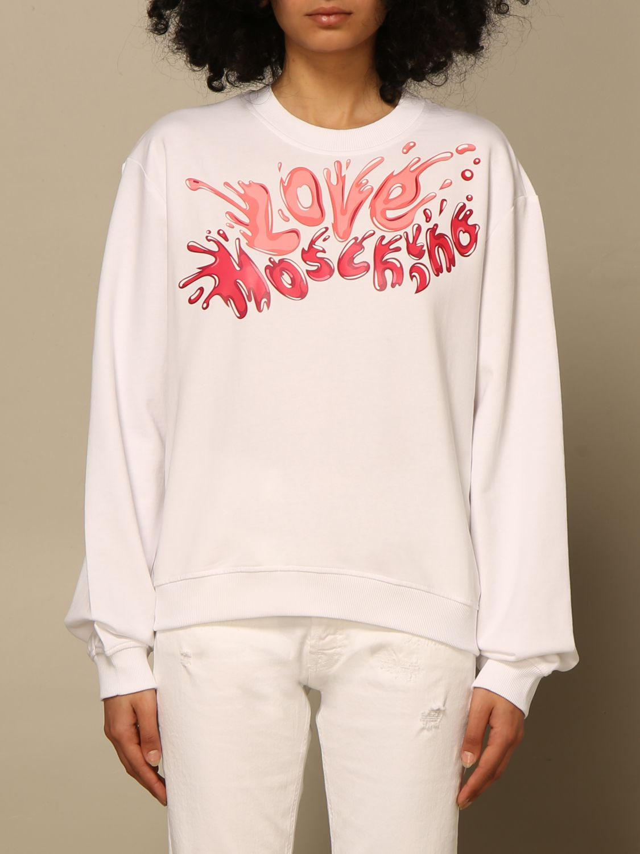 Felpa Love Moschino: Felpa a girocollo Love Moschino con logo fuxia 1