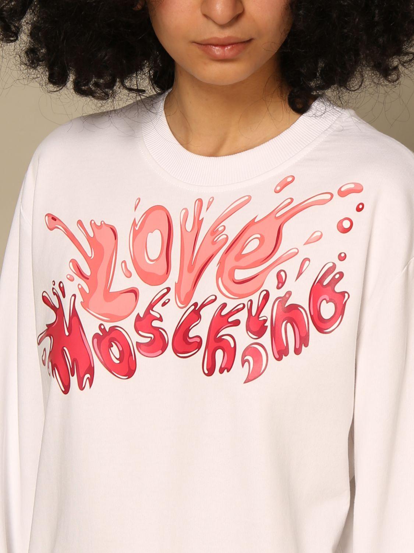 Felpa Love Moschino: Felpa a girocollo Love Moschino con logo fuxia 3