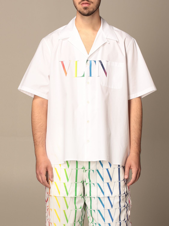 Camicia Valentino: Camicia Valentino in cotone con stampa VLTN multicolor bianco 1