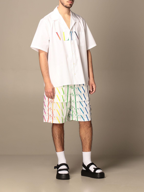 Camicia Valentino: Camicia Valentino in cotone con stampa VLTN multicolor bianco 2
