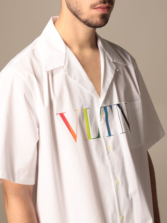 Camicia Valentino: Camicia Valentino in cotone con stampa VLTN multicolor bianco 5