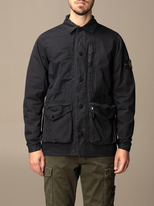Jacket Stone Island: Stone Island saharan jacket in frosted canvas navy 1