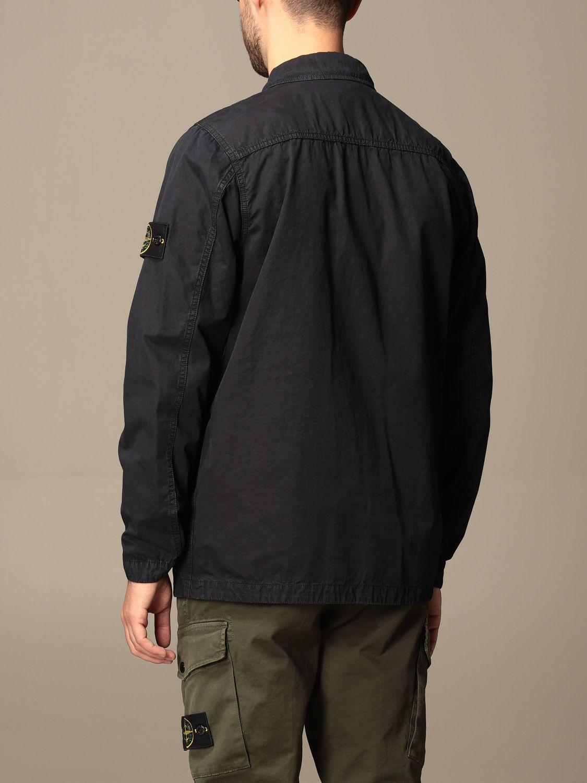 Jacket Stone Island: Stone Island saharan jacket in frosted canvas navy 3