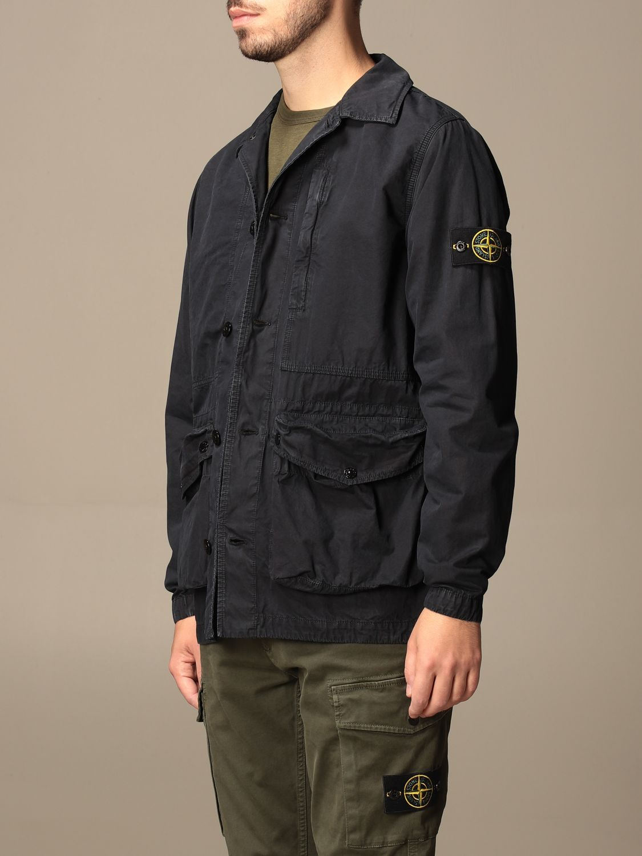 Jacket Stone Island: Stone Island saharan jacket in frosted canvas navy 4
