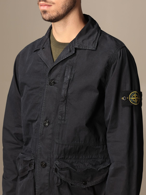 Jacket Stone Island: Stone Island saharan jacket in frosted canvas navy 5