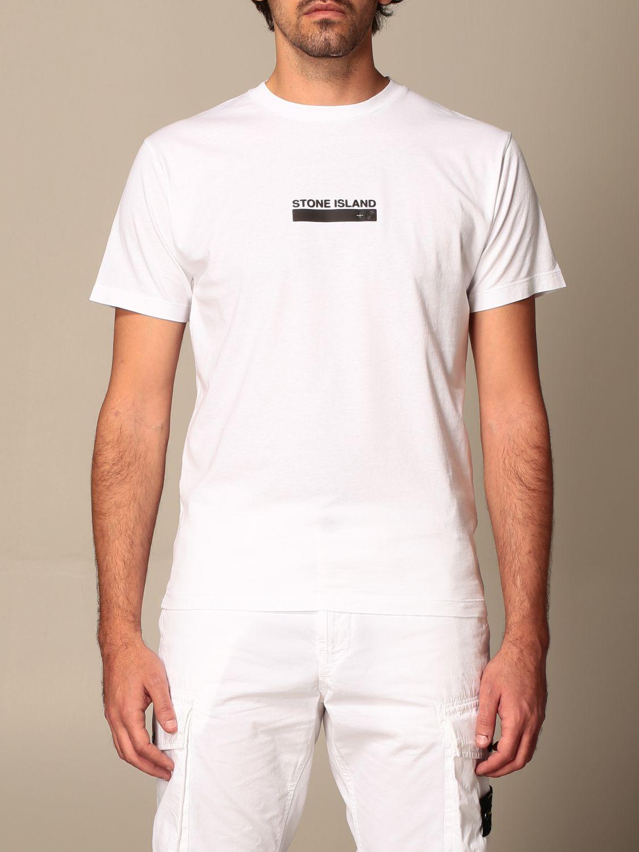 T-shirt Stone Island: T-shirt Stone Island in cotone basic con stampa logo bianco 1