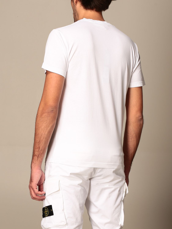 T-shirt Stone Island: T-shirt Stone Island in cotone basic con stampa logo bianco 2