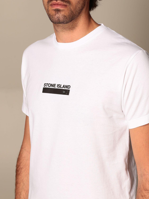 T-shirt Stone Island: T-shirt Stone Island in cotone basic con stampa logo bianco 3