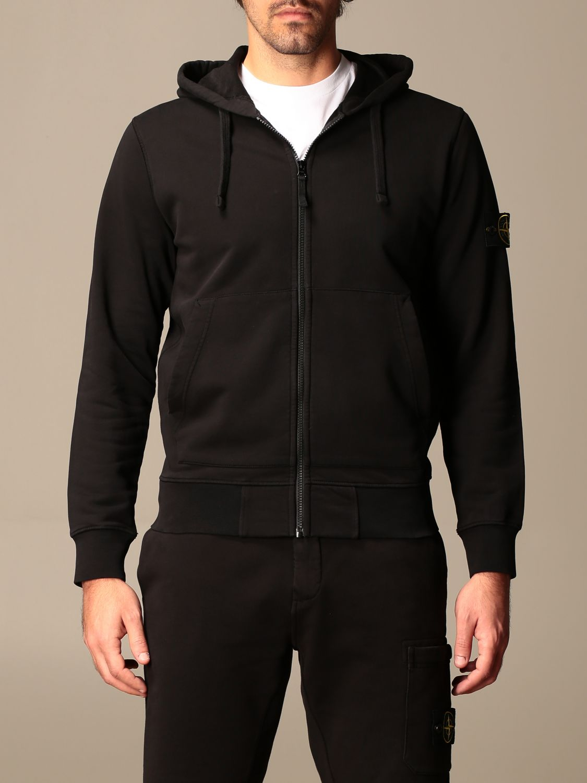 Sweatshirt Stone Island: Stone Island hooded sweatshirt in stretch cotton black 1
