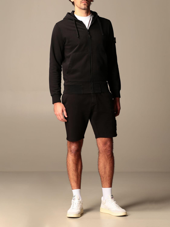 Sweatshirt Stone Island: Stone Island hooded sweatshirt in stretch cotton black 2