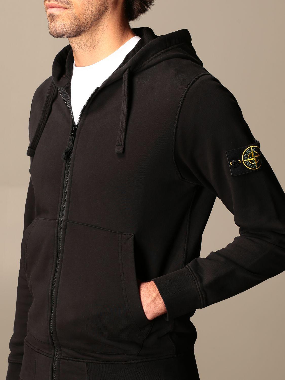 Sweatshirt Stone Island: Stone Island hooded sweatshirt in stretch cotton black 4
