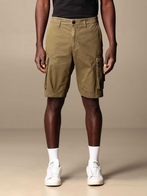 Short Stone Island: Stone Island Kargo Bermuda shorts in frosted canvas gabardine olive 1