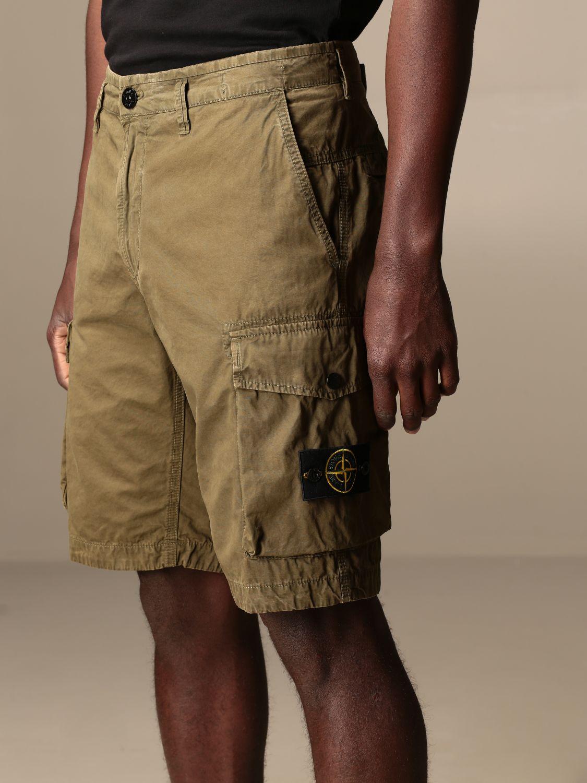 Short Stone Island: Stone Island Kargo Bermuda shorts in frosted canvas gabardine olive 5