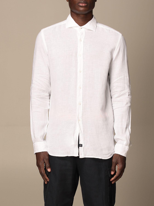 Camicia Fay: Camicia Fay in lino con collo francese bianco 1