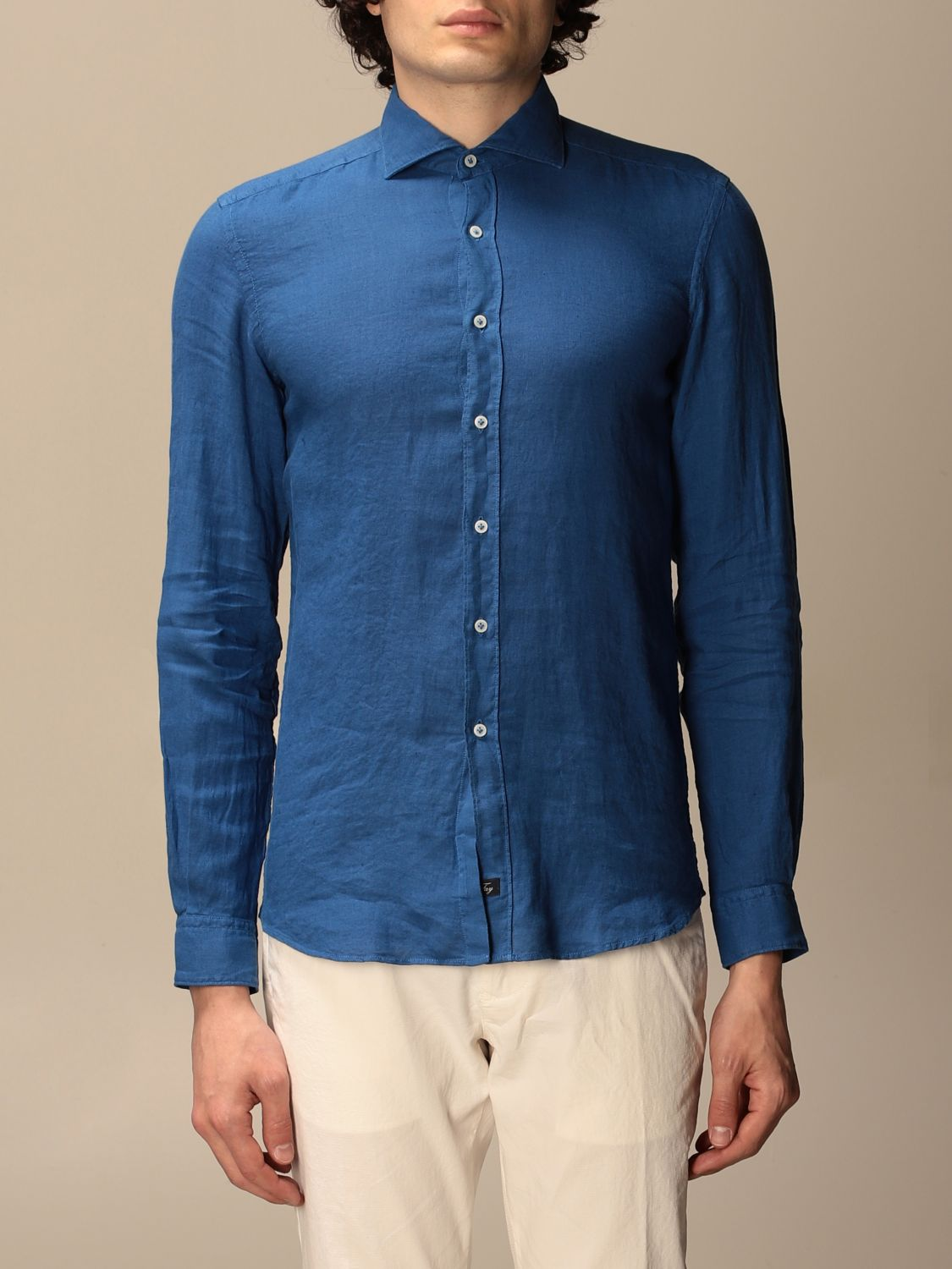 Shirt Fay: Fay linen shirt with French collar blue 1 1