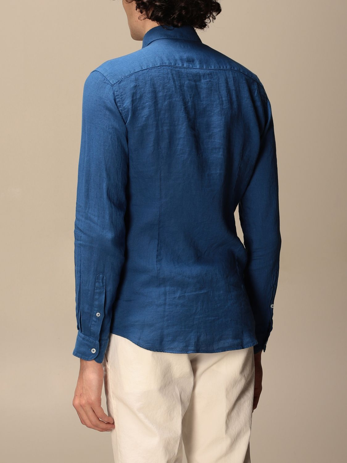 Shirt Fay: Fay linen shirt with French collar blue 1 2