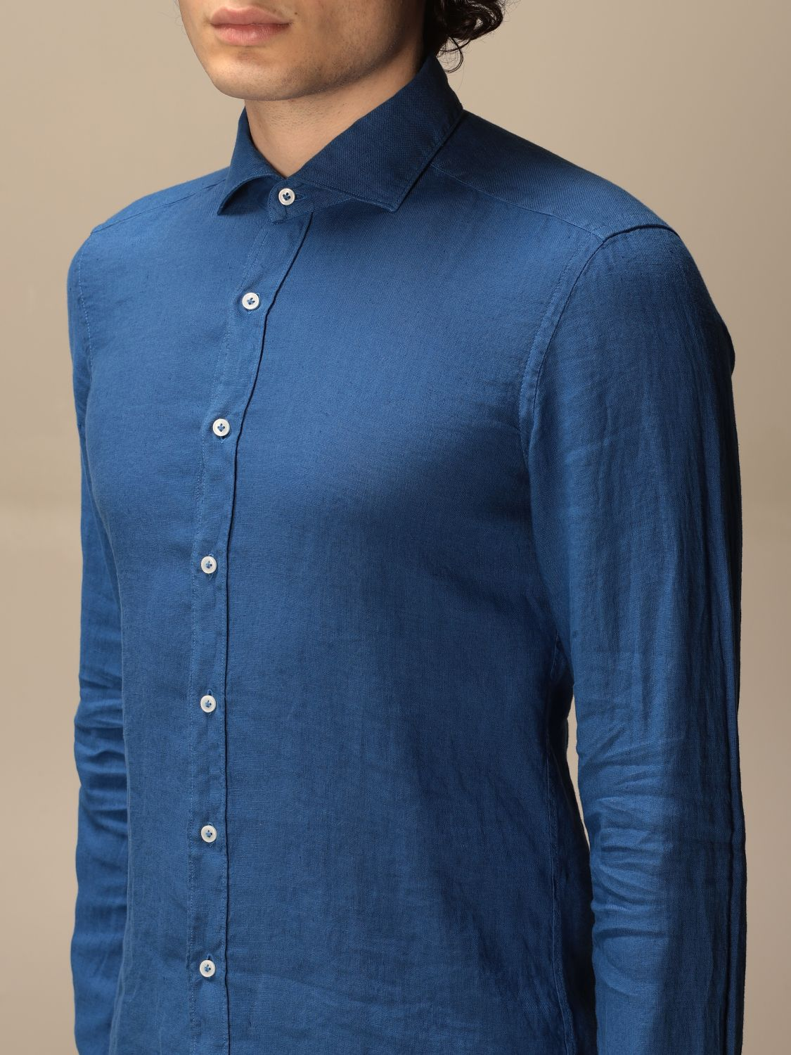 Shirt Fay: Fay linen shirt with French collar blue 1 3