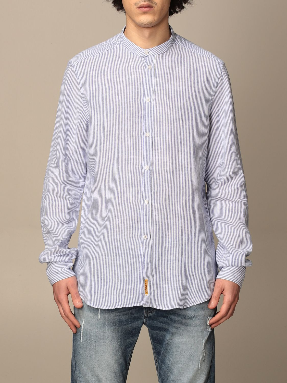 Shirt An American Tradition: Brooklyn BD Baggies shirt in micro-striped linen navy 1